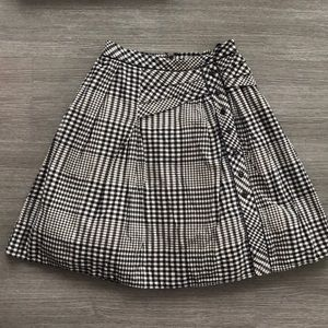 Anthropologie Odille navy and cream checked skirt